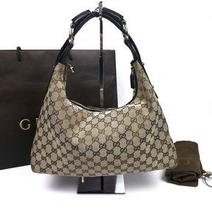 Gucci Horsebit Hobo GG Canvas Medium Shoulder Bag